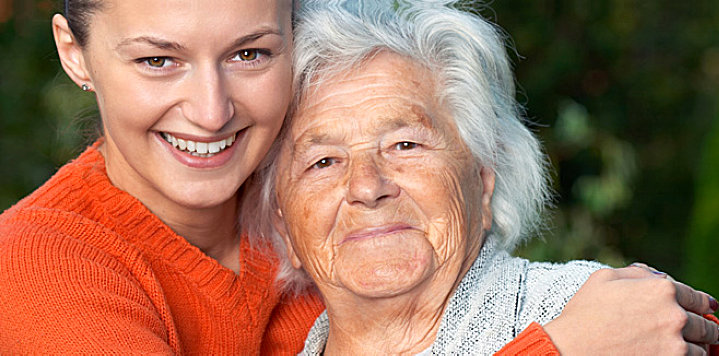 elderly woman and a young woman