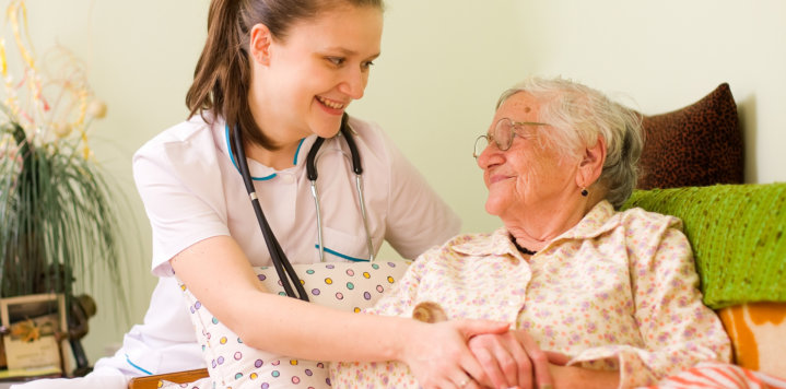 elderly woman and a nurse